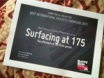 SURFACING AT 175 wins the Best History and Science Project in the pitching session of SUNNYSIDE OF DOC in La Rochelle. 2011.6.23